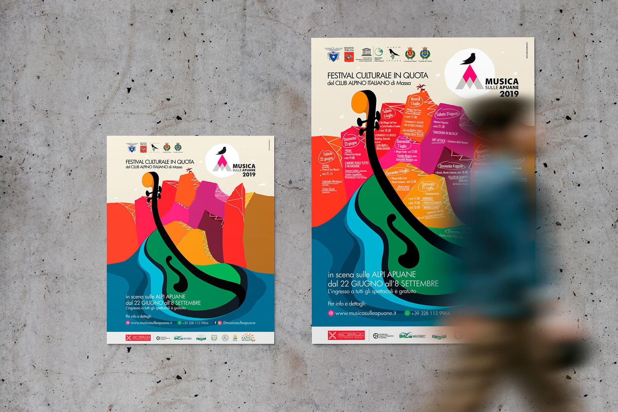 progettazione manifesto musica sulle Apuane 2019