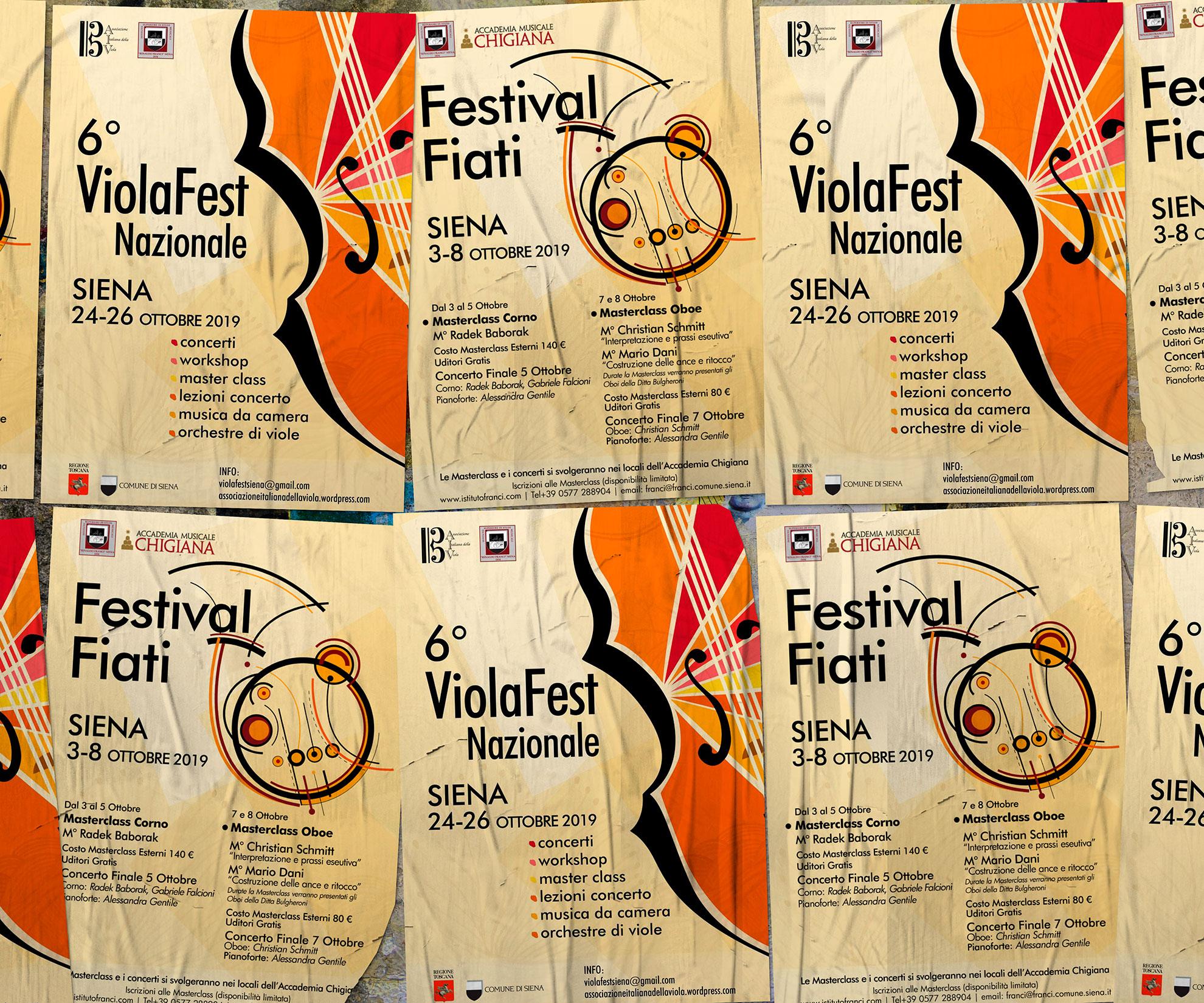 progettazione manifesti Viola fest Siena e Festival Fiati
