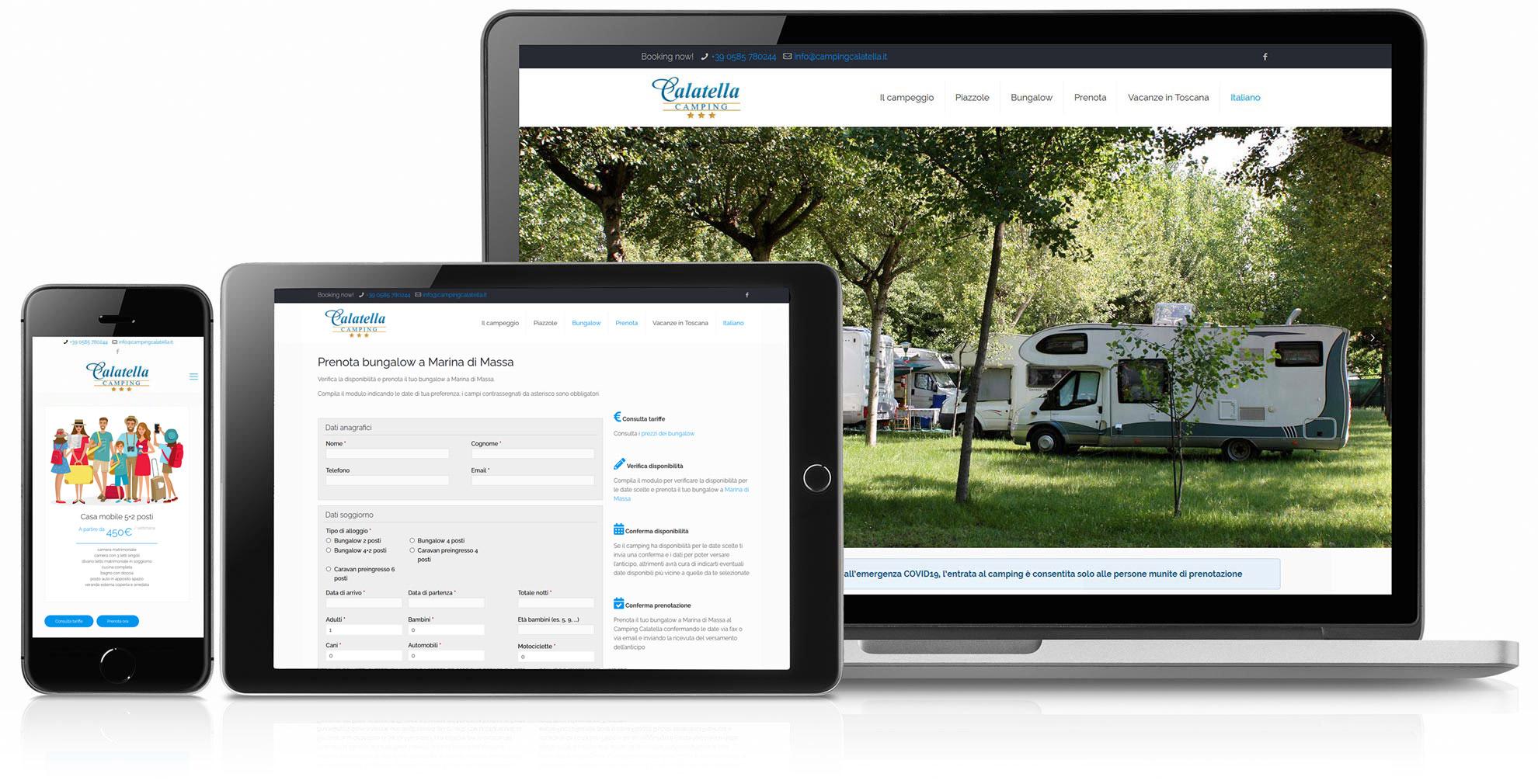 restyling sito web Camping Calatella Marina di Massa