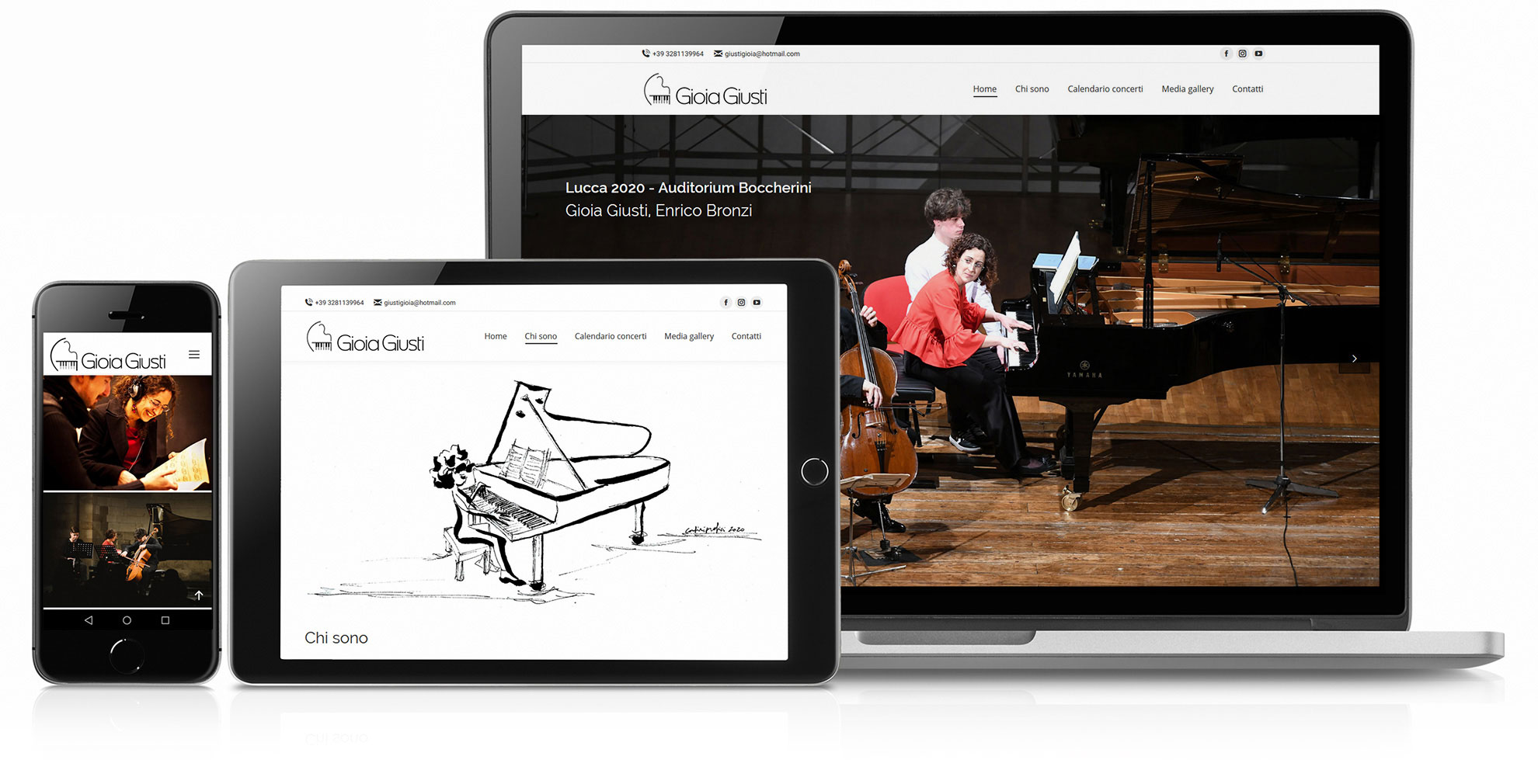 Logo design, restyling sito web, progetto immagine, Gioia Giusti pianista